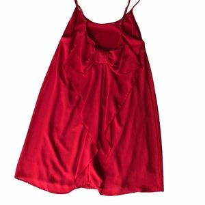 Everly Red Slip Dress Mini, Scoop Back With Bow